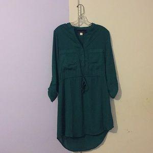 Green Long-sleeve polyester dress